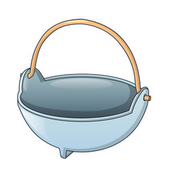 cauldron for fire camp icon cartoon style vector image