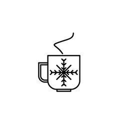 christmas cup outline icon element of new year vector image