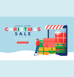 christmas sale template gift phone store man vector image