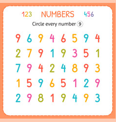 Circle every number nine numbers for kids vector