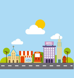 City buildings road urban street landscape vector