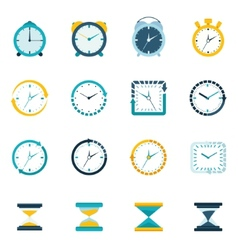Clock icon flat set vector image