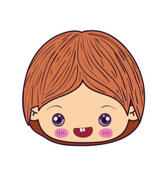 Colorful caricature kawaii face little boy smiling vector