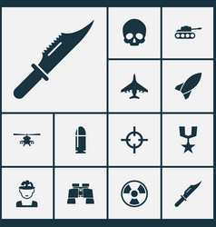 Combat icons set collection of glass slug vector