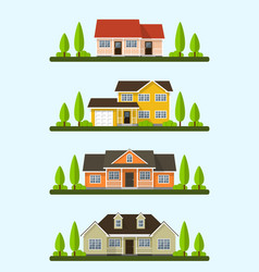 cottage houses set vector image