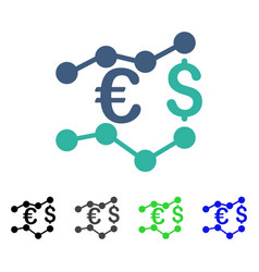 Currency charts flat icon vector