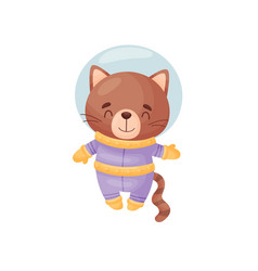 Cute cat astronaut on white vector