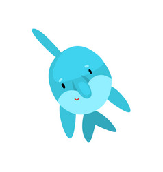 cute dolphin cartoon sea animal character swimming vector image