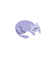 Cute pleased pet cat or kitten laying flat vector