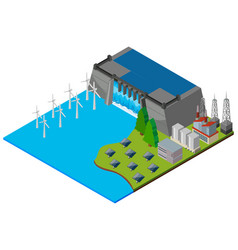 Dam and wind turbines in 3d design vector