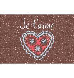 Declaration of love in French Openwork heart vector