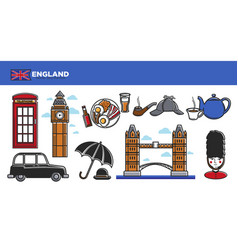 England travel destination promotional poster vector