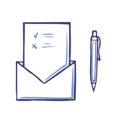 envelope with opened voting page marks for against vector image