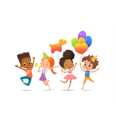 Excited multiracial boys and girls vector