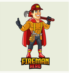 fireman hero cartoon mascot logo vector image