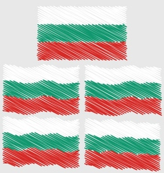 Flat and waving hand draw sketch flag of bulgaria vector