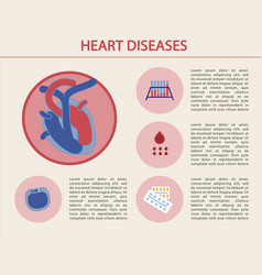 flat banner written heart diseases cartoon vector image
