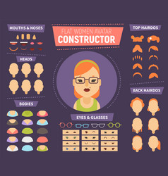 Flat women avatar constructor for generating vector