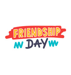 friendship day banner with typography and doodle vector image