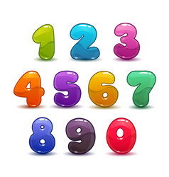 funny colorful numbers set on white background vector image