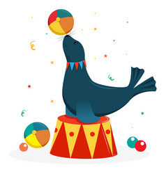 Fur seal on a circus stand with a ball circus vector
