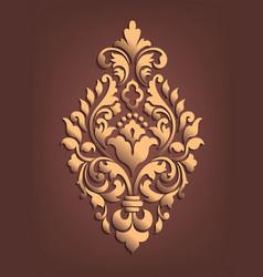 Gold damask volumetric ornamental element elegant vector