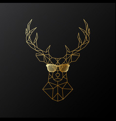 golden polygonal deer in glasses vector image