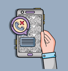 Hand with smartphone with lost call and chat vector