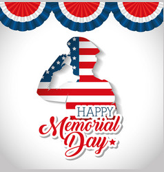 happy memorial day soldier silhouette vector image