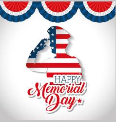 happy memorial day soldier silhouette vector image