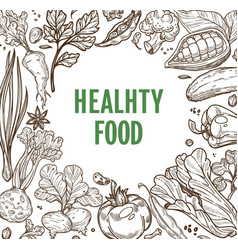 healthy food organic products vegetable nutrition vector image