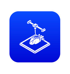 Heart d printing icon blue vector