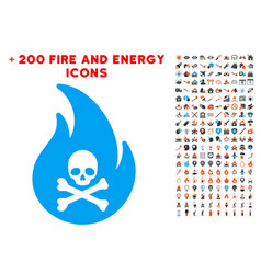 hell fire icon with bonus flame collection vector image