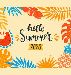 hello summer 2020 tropical banner vector image