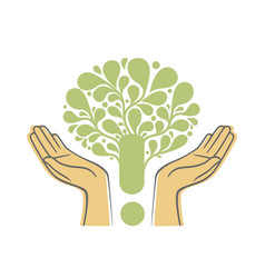 Human hands holding green tree symbol concept vector