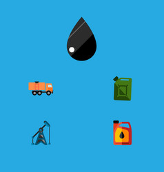icon flat oil set of fuel canister oil pump vector image