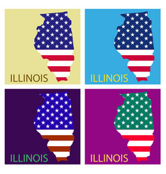 Illinois state of america with map flag print on vector