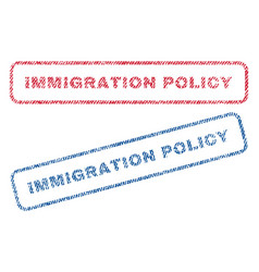Immigration policy textile stamps vector