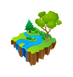 Isometric island with blue river green grass and vector
