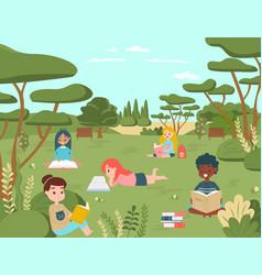 kid children character read book in national vector image