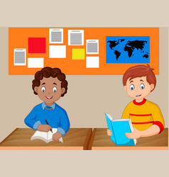 kids study together vector image