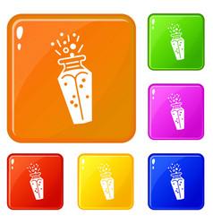 magic bottle potion icons set color vector image