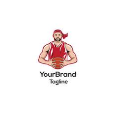 man basket logo template vector image
