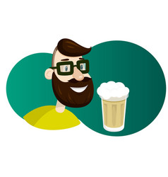 Man with beard in the form of hop vector