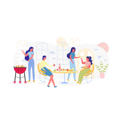 Meeting girlfriends with grilled vegetables vector