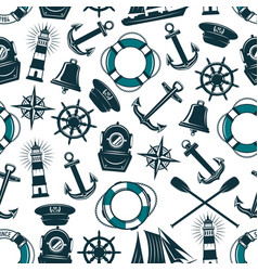 Nautical marine heraldic seamless pattern vector