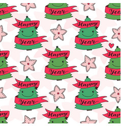 new year seamless pattern with trees for wrapping vector image