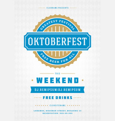 oktoberfest beer festival celebration retro vector image