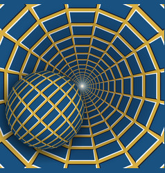 Optical a ball is moving on rotating vector