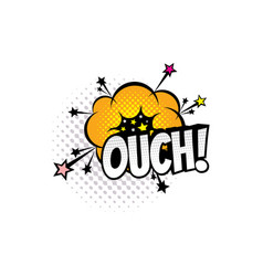 ouch sound blast explosion cartoon comic book vector image
